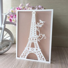 20pcs/lot Laser Cut Eiffel Tower Wedding Invitation Card Universal Engagement Party Birthday Greeting Card Best Wishes Cards(China)