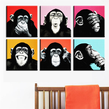 Canvas Painting New 2016 Wall Art Painting 6pcs Andywarol Monkey Print On Canvas For Home Decor Ideas Paints Pictures No Framed