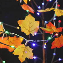 Autumn Orange Yellow Leaf String Light Fairy Colth Maple Leaves Light With 10leds Indoor Decoration Battery Powered Light String