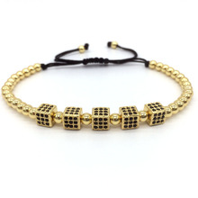 NAIQUBE 2017 New Men Bracelets & Bangles Round Beads Micro Pave Black CZ Beads Cube Dice Macrame Braided Charm Bracelets Jewelry