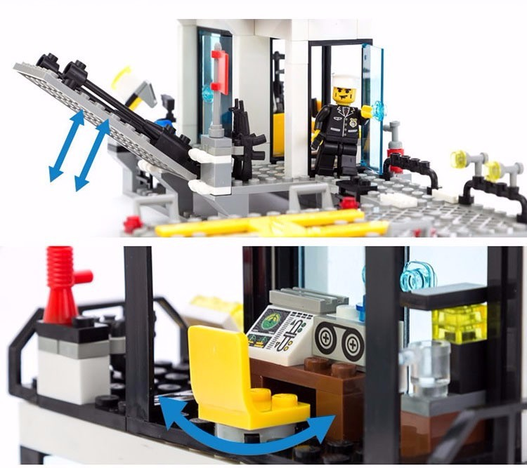 KAZI 6726 Police Station Building Blocks Helicopter Boat Model Bricks Toys Compatible LegoINGlys Blocks Toys For Children Gift 4