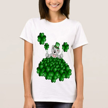 Topjini 2017 Hot Sale Summer Women Fashion T-shirt Women Loose Plus Size 4XL 5XL 6XL Cartoon Bear Lucky Grass Print T-shirt Tops(China)