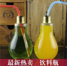 6pcs/lot The New Bulb Glass Bottles Dedicated Tea Shop Bar Bottle Creative Gifts Ornaments With Straw Cup Juice(China)