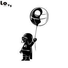 Star Wars Inspired Baby Darth Vader With Death Star Balloon Vinyl Wall Stickers for Bedroom Home Decor(China)