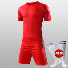 Free Sock Brand Design Men Soccer Sets Sports Training Sets Male Football Jerseys and Shorts Adult Running Uniforms Sportswear(China)