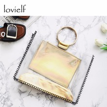 lovielf HOT Women Girl Female Fashion CasualBeach PVC Round Ring Gold Laser Transparent Tote Bags Handbags Composite Bags