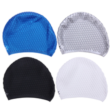 Elastic Swimming Cap Unisex Universal Silicone Rubber Swim Cap Diving Waterproof Hair Ear Protective Hats Swimming Accessories(China)