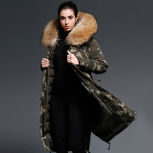 90% White Goose Down Jackets Women 2017 Warm Winter Real Fox Fur Hooded Coats X-Long Section Camouflage Clothing Outerwear New
