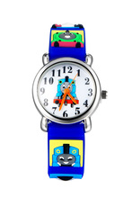 Hot Promotion High Quality 3D Cartoon Thomas Train Boys Kids Silicone waterproof Quartz Wristwatches Student Watches