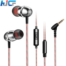 New HJCF Metal Super Bass Stereo Earphone Earbuds With Microphone Sport Earphone For MP3 MP4 iphone Samsung Mobile Phone D01(China)