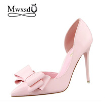 2017 New Spring Summer Women Pumps Sweet Bowknot High-heeled Shoes Thin Pink High Heel Shoes Hollow Pointed Stiletto Elegant