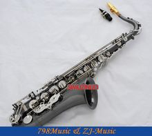 Professional Black Nickel Silver Tenor Saxophone High F# Engraving Sax With Case