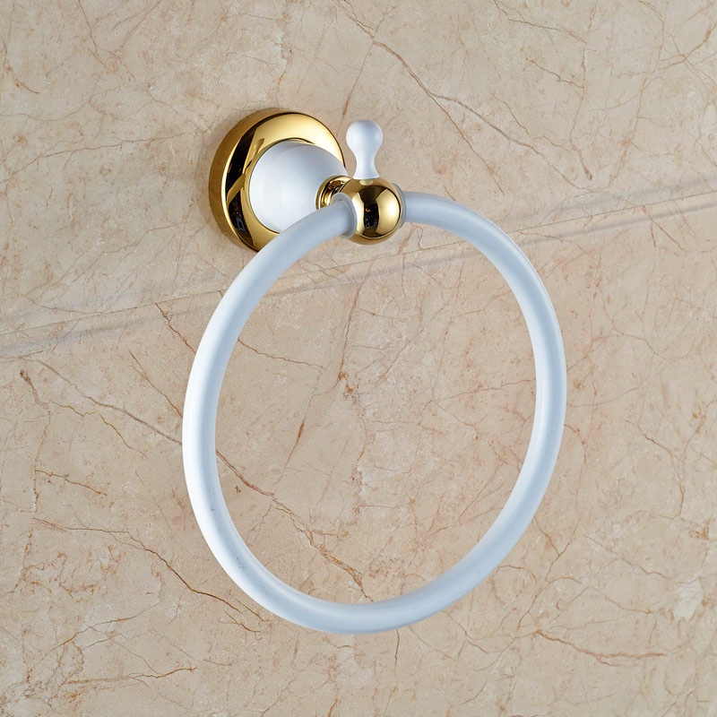 Newly Fashion White&amp;Gold Finish Towel Ring Bath Wall Mounted Towel Hanger<br>