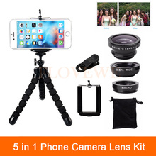 Buy 5in1 Phone Camera Lens Kit 3in1 Fisheye Wide Angle Macro Lenses Tripod iPhone 4 5 5s 6 6s 7 Plus Sumsung Xiaomi redmi Huawei for $5.29 in AliExpress store