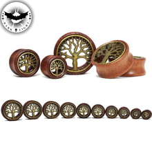 Pair WOOD Brass Tree of Life Ear Tunnel Ear Reamer Gauges Saddle Ear Plugs 2016 Hot Body Piercing Jewelry 8-20mm(China)