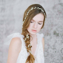 Fashion Handmade Long Bridal Hair Band Romantic Hairwear Floral Headpieces Pearl Hair Jewelry Accessories Wedding Head Chain