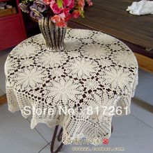 free shipping crochet flowers lace tablecloth beige square flower fashion decoration sofa towel table runner for wedding cover(China)