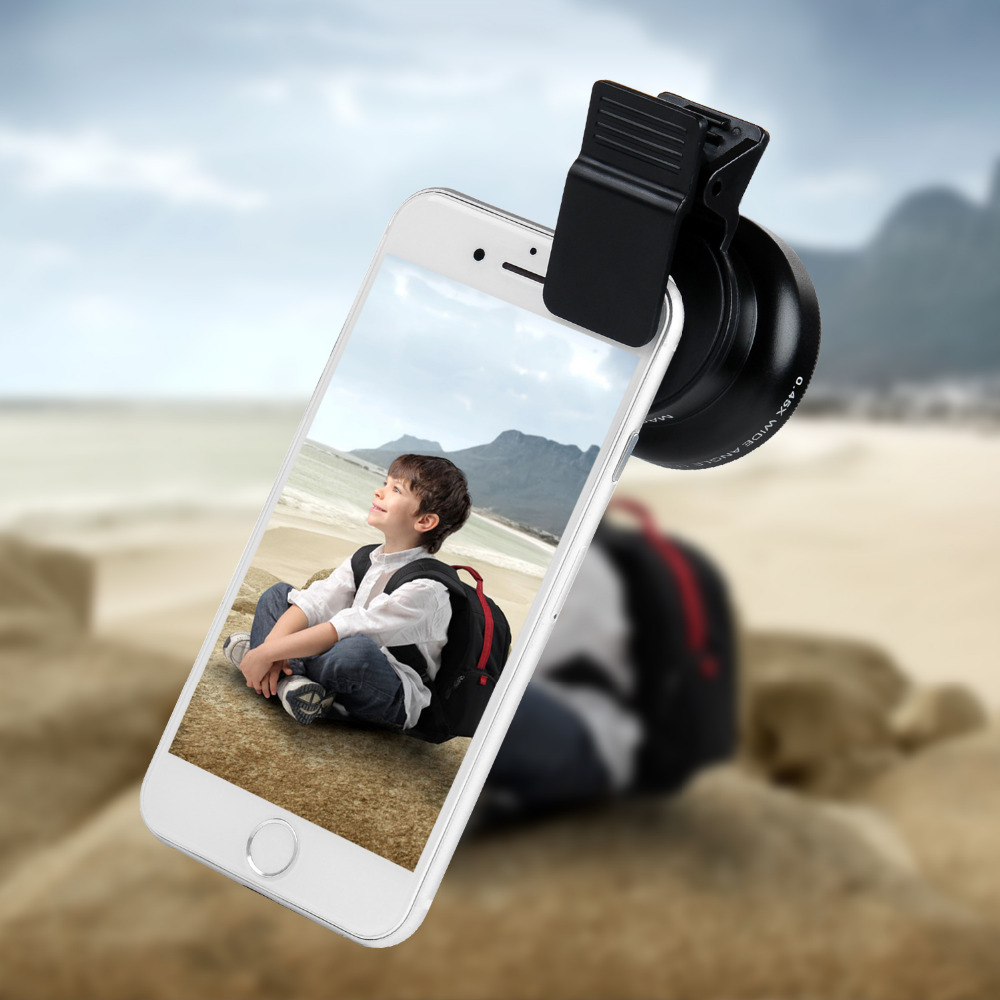 Turata Phone Lens, 2 in 1 HD Camera Fisheye Lens [0.45X Wide Angle + 12.5X Macro] Clip-on Kit Lens For iPhone 5 5S SE 6 6S 7 7
