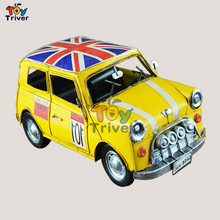 Handmade iron vintage vehicle mini cooper car model boy car lovers birthday gift automobile Home Office Shop Decor Triver toy