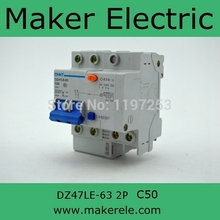 dz47 circuit breaker DZ47LE-63 2P C50 DIN Rail Mounted 2p Earth Leakage Circuit Breaker chint(China)