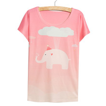 Alisister Newest Casual Elephant T Shirt Women Clothes Girls Thin Loose Batwing short-sleeve Summer Pink 3d Cartoon Tshirt