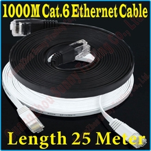 New 75FT 25M CAT6 CAT 6 Flat UTP Ethernet Network Cable RJ45 Patch LAN Cord 1000M/100M Gigabit ethernet cable super flat, PROM5