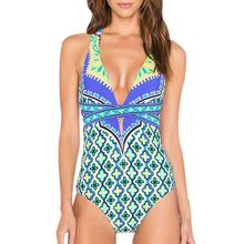 Buy 2018 Sexy Women Beach Wear One Piece Swimwear High Neck Swimsuit Push High Cut Biquini Print Halter Bathing Suits