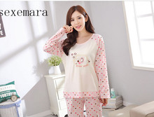2017no brand new arrival women sleeping 100%cotton pajamas from size M to xxl free shipping(China)