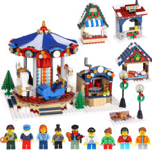 Lepin 36010 1412pcs Christmas series Winter Village Market Carousel Model Building Blocks Bricks Toys For Children 10235(China)