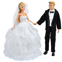 E-TING Ken Clothes Fashion Full Around White Lace Wedding Dress Black Business Suit For Barbie Doll Accessories Veil Toys Gift(China)