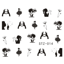 1Sheets NEW Dandelion White/Black Beauty Girl Nail Art Water Transfer Sticker Decals DIY Tips STZ014