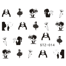 1Sheets NEW Dandelion White/Black Beauty Girl Nail Art Water Transfer Sticker Decals DIY Tips STZ014(China)
