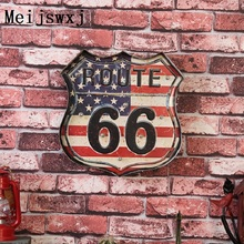 Meijswxj LED Neon Sign Vintage Home Decor Shabby chic Brass knuckles weapon US Highway 66 Bar Cafe Restaurant wall hanging signs