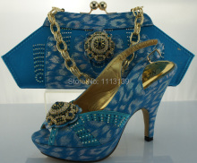 Specail design BLUE handbag and matching thin high heels for wedding party dresses, italian shoes&bag set,Euro size38-42 ME2205