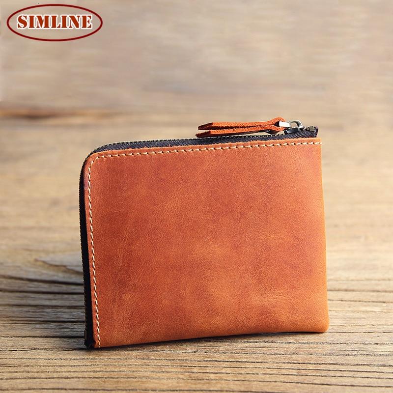 Luxury Brand Vintage 100% Genuine Crazy Horse Leather Mens Short Slim Mini Zipper Wallet Wallets Card Holder Coin Purse For Men<br><br>Aliexpress