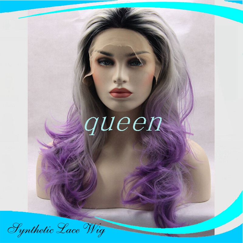 Black T Purple T Grey Colors Ombre Synthetic Lace Front Wigs Glueless Kanekalon Heat Resistant Natural Lace Front Party Wigs<br><br>Aliexpress