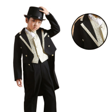 Kids Tuxedo Suit Boys Wedding Attire Communion Suit Swallow-Tailed Coat Boys Suits 6 Pcs (Jacket+Pants+Vest+Girdles+Tie+Shirt)