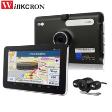 Portable New 7 inch GPS Navigation Android Car DVR Camera WiFi AV-IN With Parking Camera Truck vehicle gps bulit 16gb free map(China)