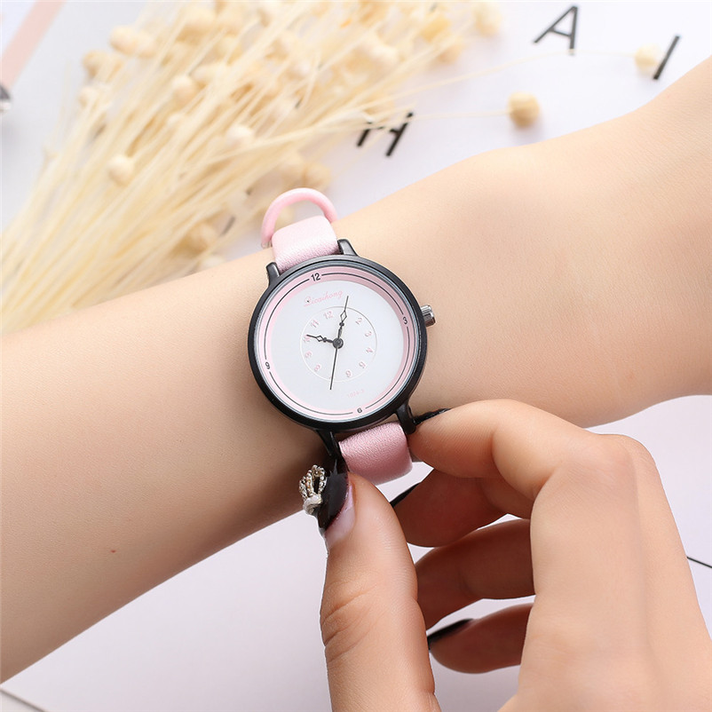 2018 High Quality women fashion casual watch luxury dress ladies Leather Band Analog Quartz Wrist Watch Clock relogio J13#N (1)
