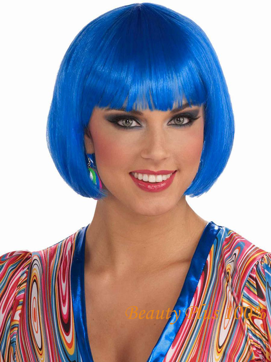 Costume Wig Blue Short Straight Wig Bob Cut Fancy Dress white  blue and Pink  Wigs Cosplay Hair Party Wigs  Free Shipping<br><br>Aliexpress