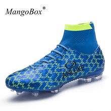 2017 Hot Sell High Ankle Football Boots for Men Blue Orange Soccer Boots With Ankle Breathable Soccer Trainers Men Cleats