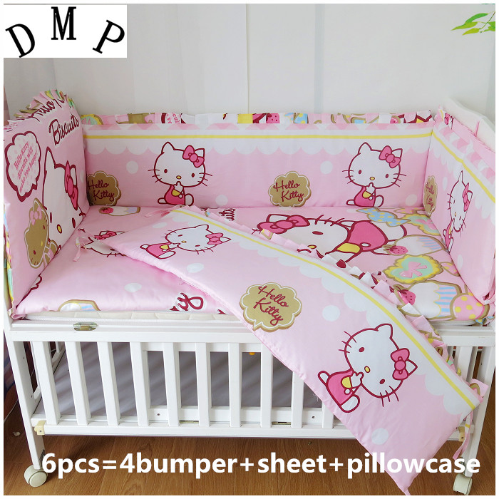Promotion! 6PCS New brand 100% cotton baby bedding crib sets Baby Cot Crib Bedding Set , include(bumpers+sheet+pillow cover)