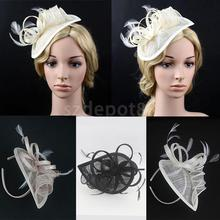 Vintage Feather Flower Fascinator Cap on Head Band 1920s Gatsby Style Royal Derby Ascot Race Hairdressing