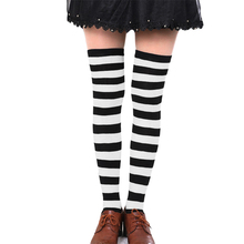 Hot New Sexy Women Girl Striped Cotton Thigh High Stocking Over the Knee Socks Fashion Stockings For Dating Cosplay Cheap F1(China)