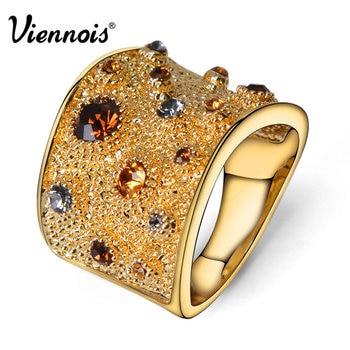 Viennois Широкий позолоченный Rhinestone Кристалл двойной манжета коктейль кольцо Размер 6 7 8 9 Для женщин