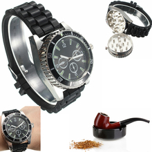 Metal Alloy Real Men Watch Herb Spice Tobacco Grinder Wrist Watch Cigarette Tobacco Crusher Cutter Black High Quality