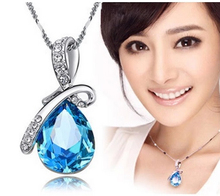 New 2014 Wholesale Austria Crystal Jewelry Water Drop Pendants Necklaces White Gold Silver Plated for Women Christmas Gift