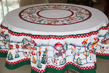 Free shipping-Round 152cm Christmas snowman fabric tablecloth round tablecloth Continental(China)