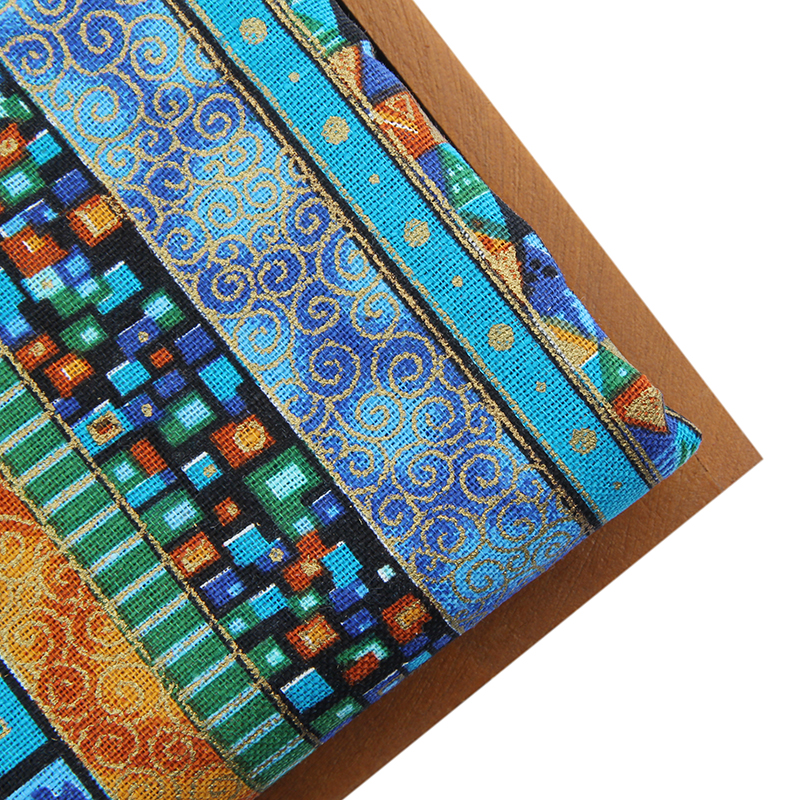 New Blue Floral African Cotton Line Fabric Meter Diy