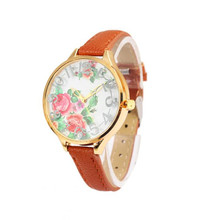 2016 Hot Marketing Luxury Women Lady Flower Print Rose Gold Dial Floral Flower Dress Wrist Watch Relogio Feminino  Free Shipping
